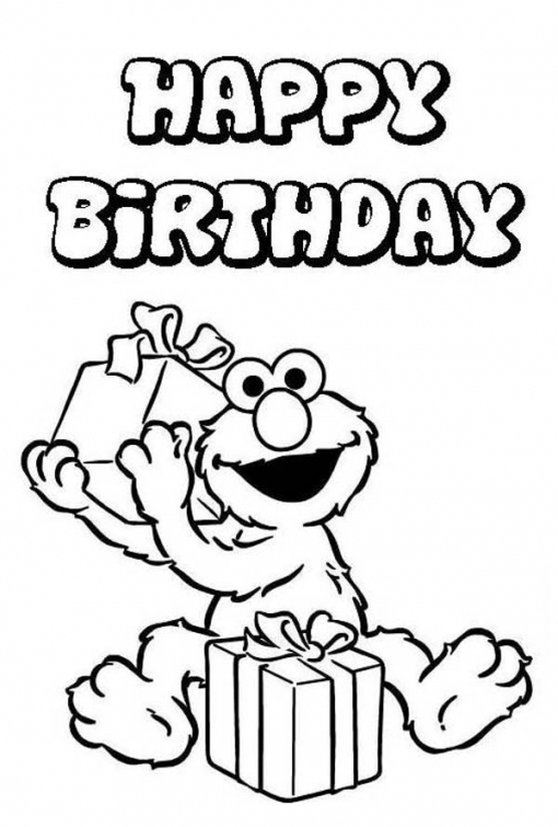 510x755 Happy Birthday From Elmo Sesame Street Coloring Picture Fun