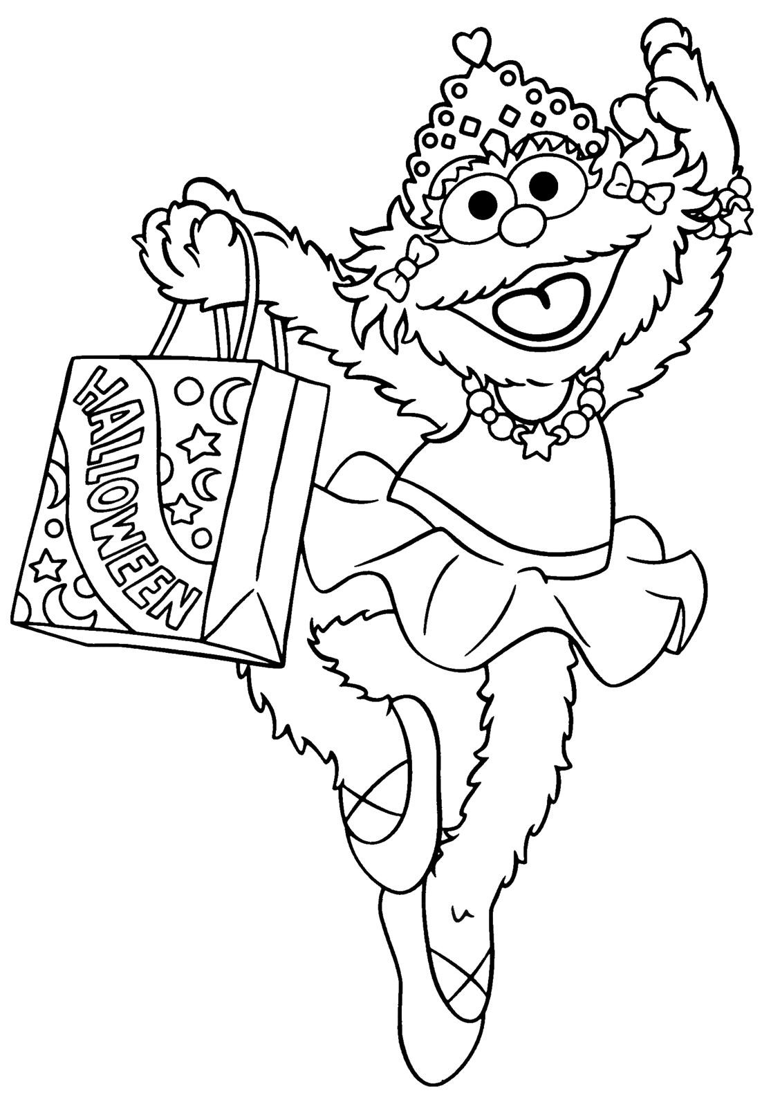 1115x1599 Printable Halloween Coloring Page Sesame Street