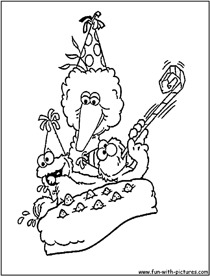 800x1050 Sesame Street Birthday Coloring Page