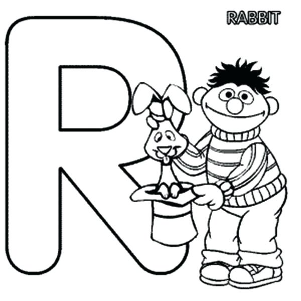 600x600 Letter R Coloring Pages Learn Letter R For Rabbit In Sesame Street
