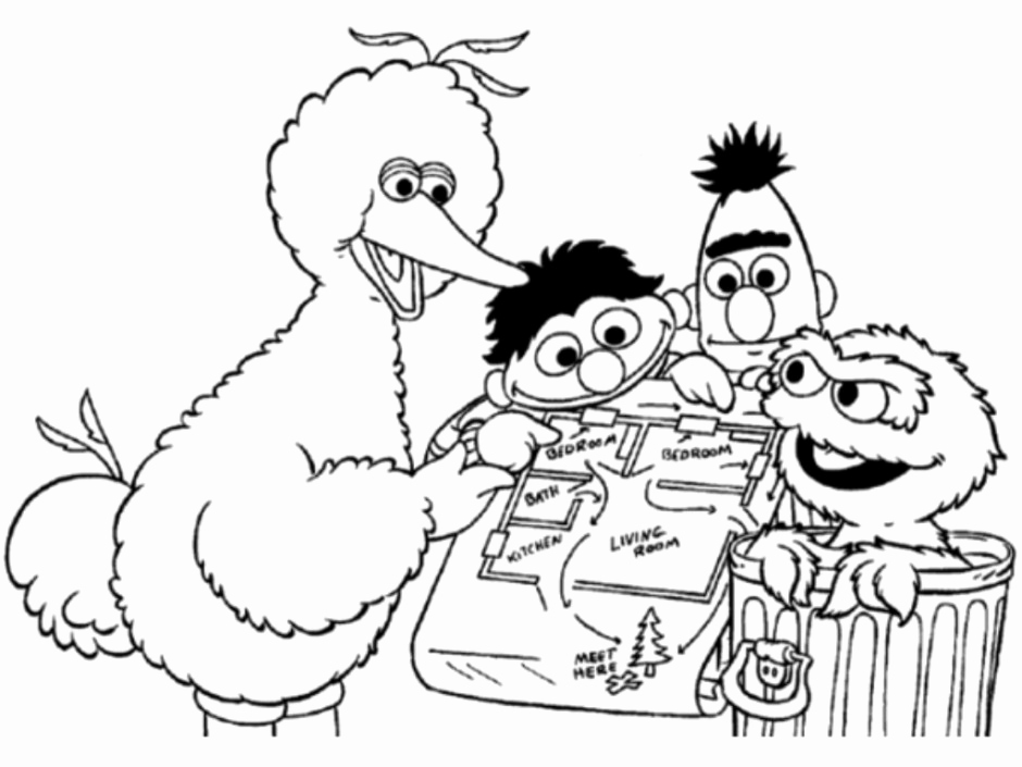 940x705 Elmo Is Showing F His Name Coloring Page Elmo Coloring Pages