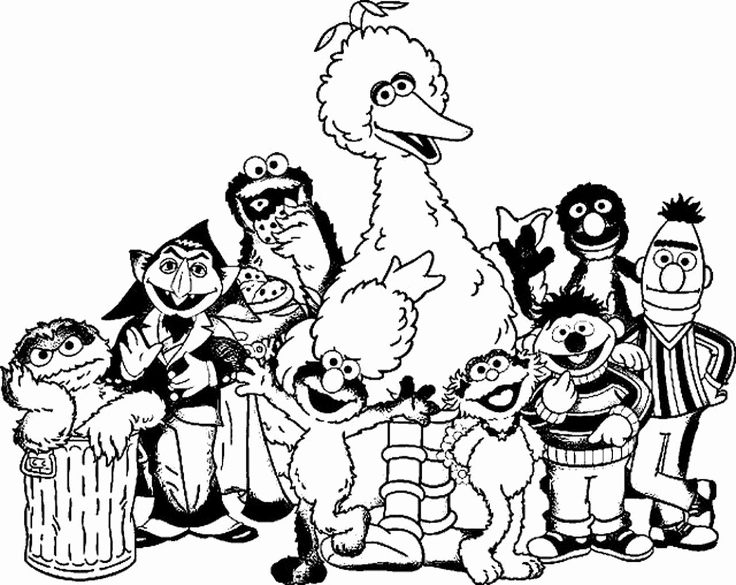 1048x832 Free Sesame Street Coloring Pages Sesame Street Gang Coloring