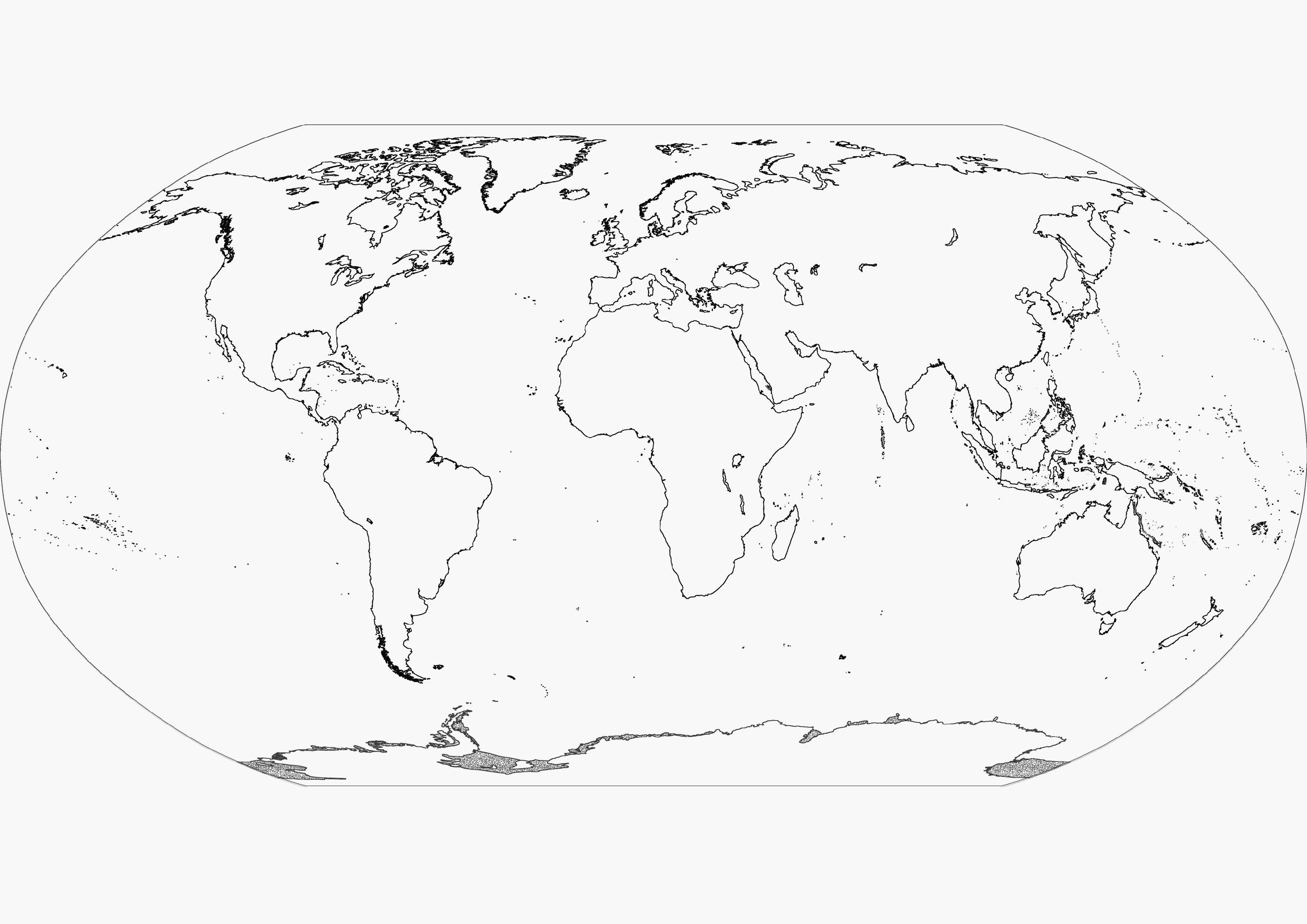3403x2406 World Map Continents Blank Fresh Printable Blank World Map