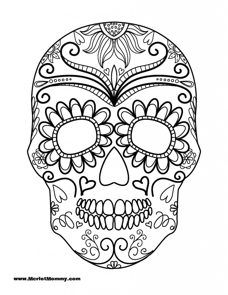 791x1024 Adult Coloring Pages Sugar Skulls Printable Coloring For Kids