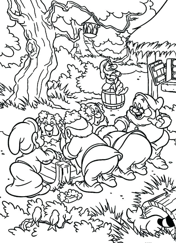 618x851 Seven Dwarfs Coloring Pages Snow White And The Seven Dwarfs
