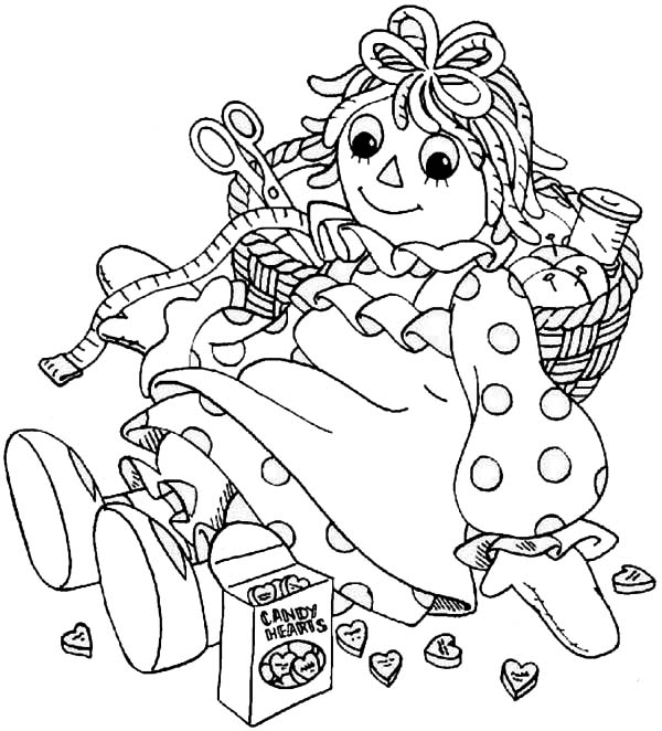 600x662 Raggedy Ann And Sewing Kit In Raggedy Ann And Andy Coloring Page