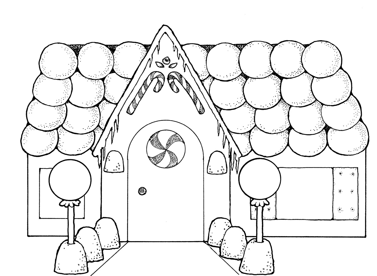 1500x1100 Unique Cute Gingerbread Houses Coloring Page Sewing Free