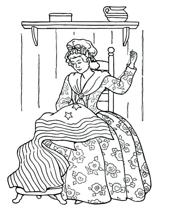 600x734 White House Coloring Pages Sewing Us Flag Patriots Day Coloring