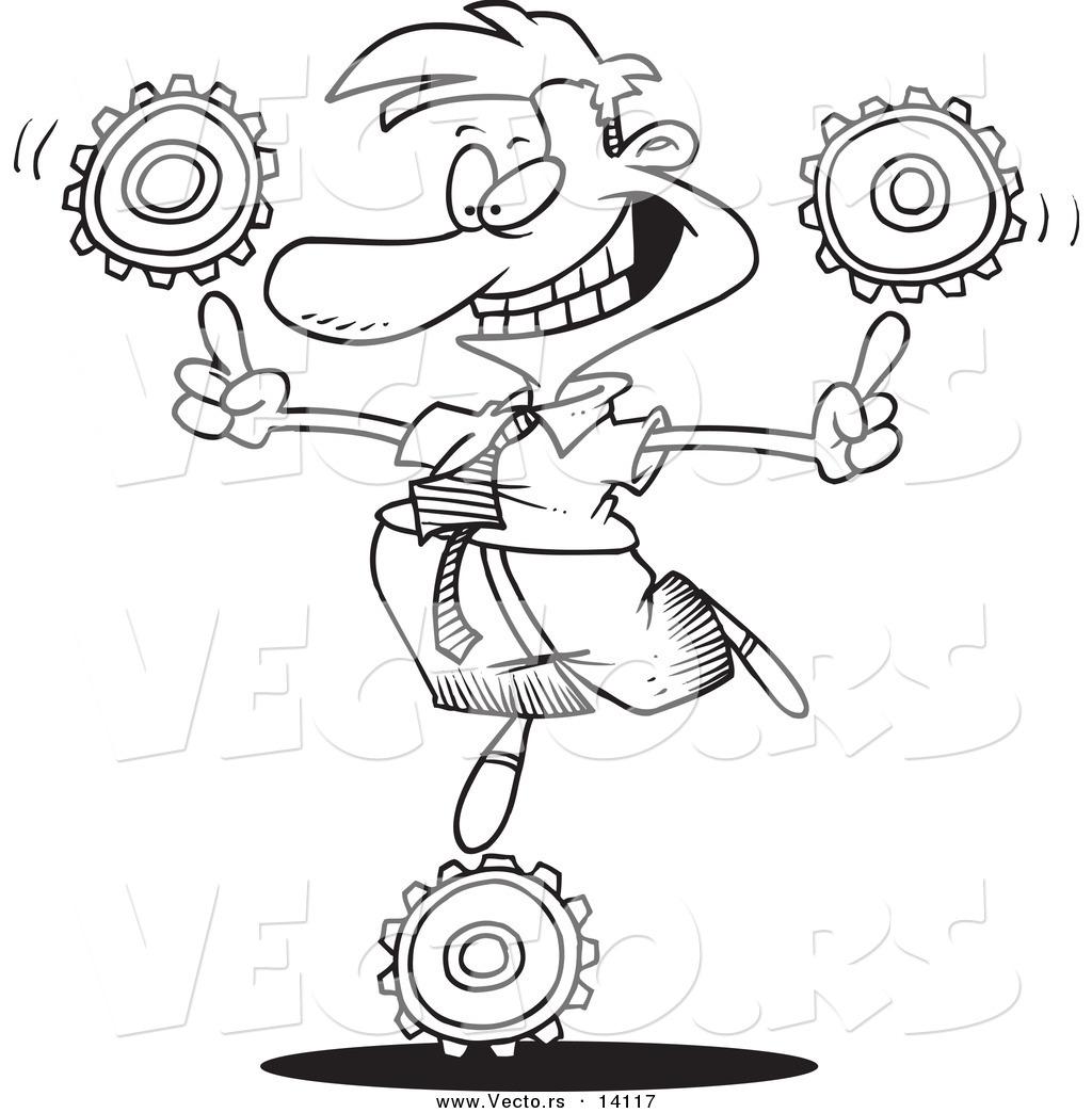 1024x1044 Vector Of A Cartoon Businessman Balancing Technology Gears