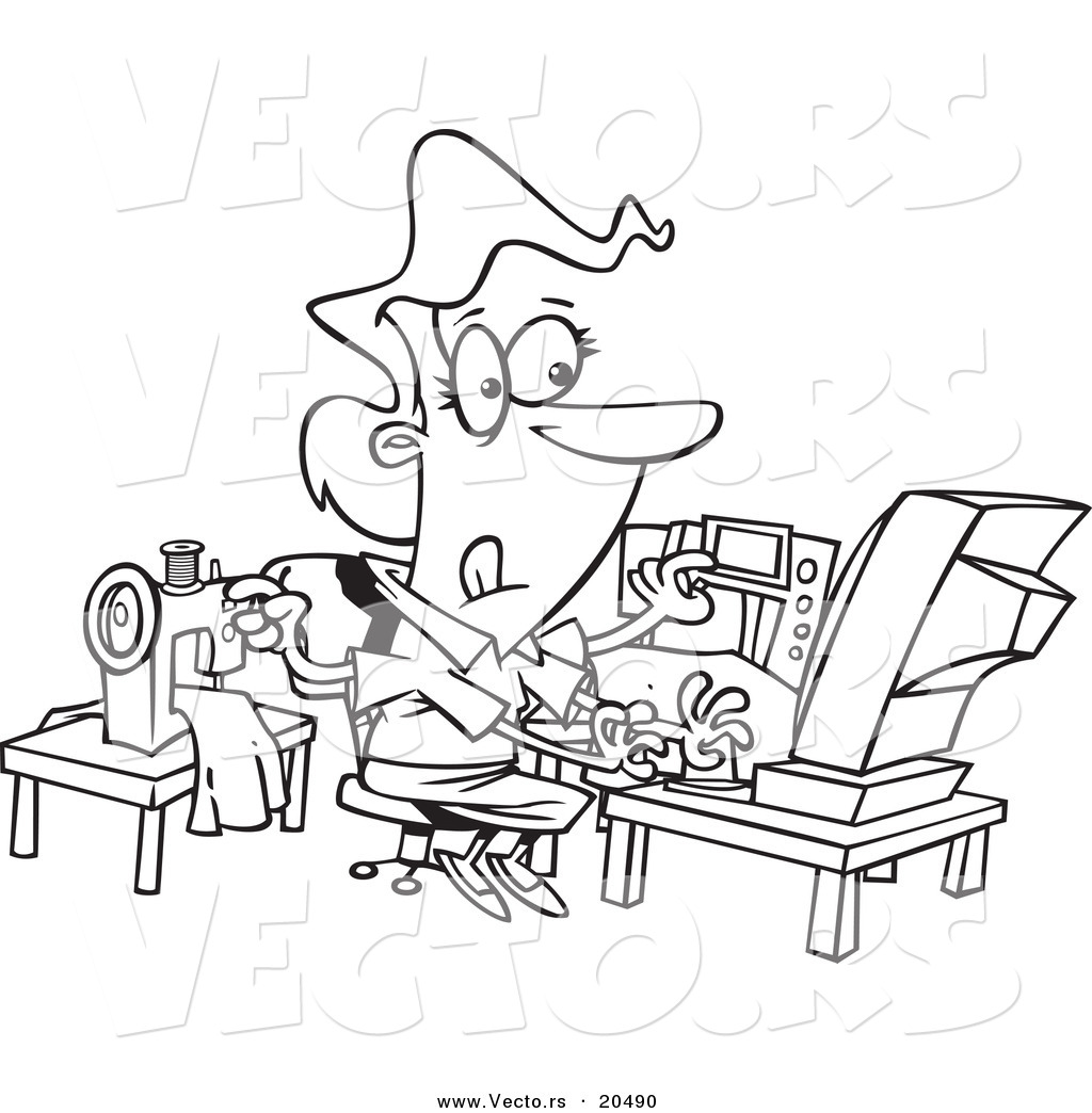 1024x1044 Vector Of A Cartoon Woman Sewing And Working