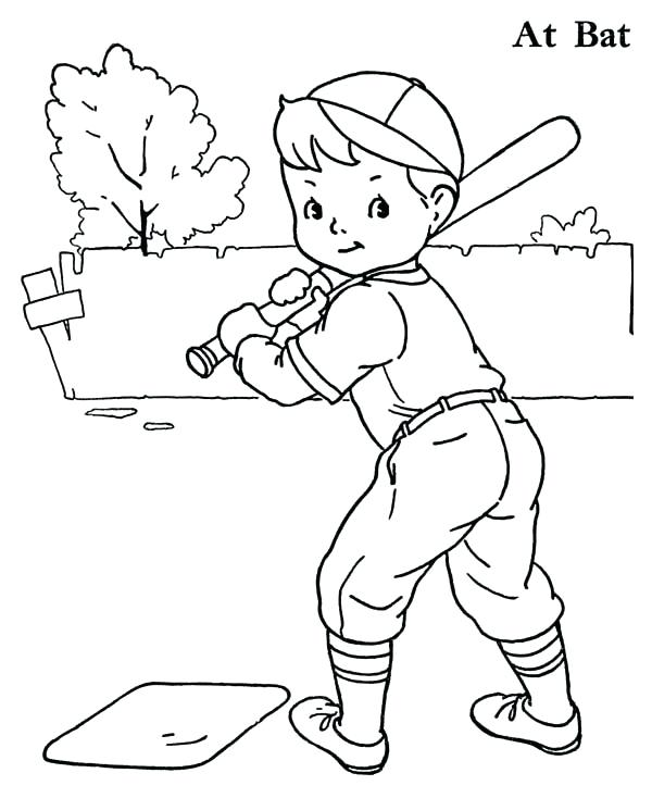 600x734 Boy Coloring Pages Boy Baseball Player Coloring Page Boy Coloring