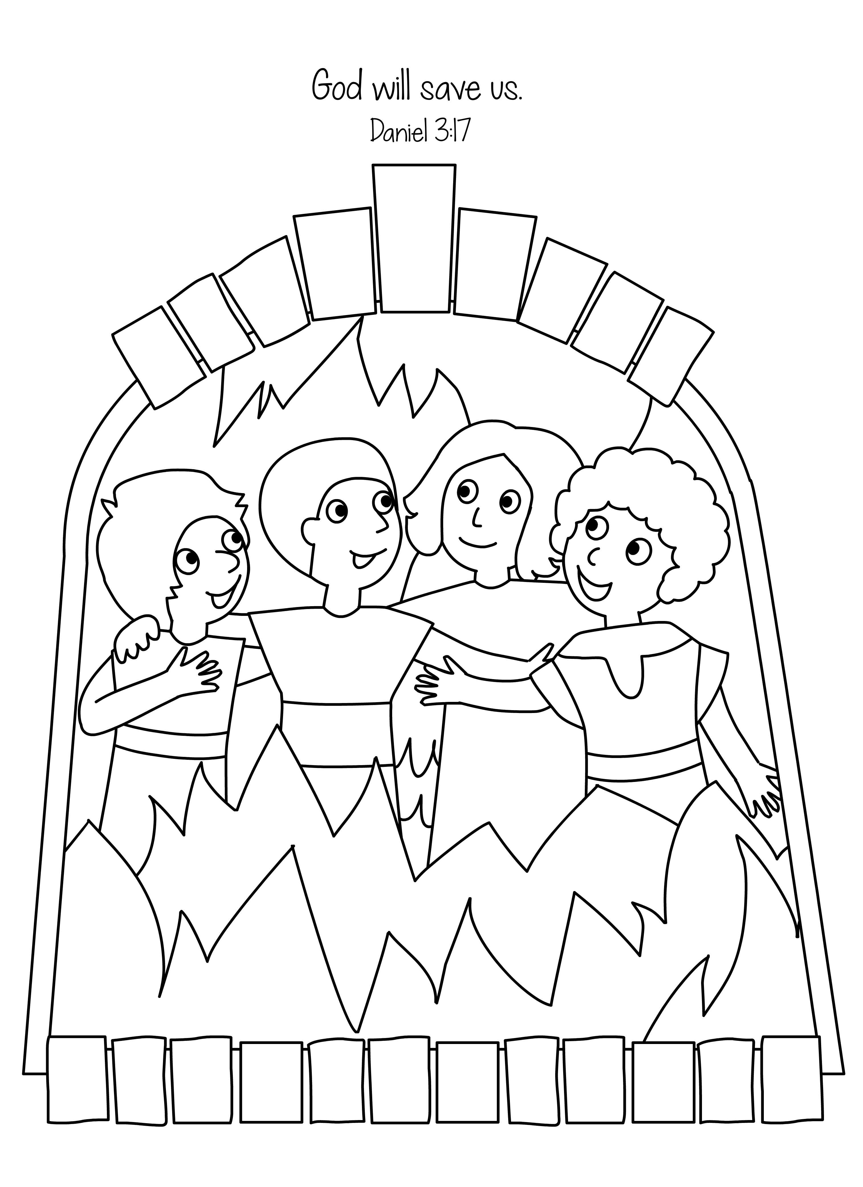 3028x4167 Free Bible Coloring Page Shadrach, Meshach And Abednego