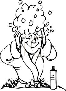 217x300 Page Of A Woman Washing Her Hair Clip Art Image