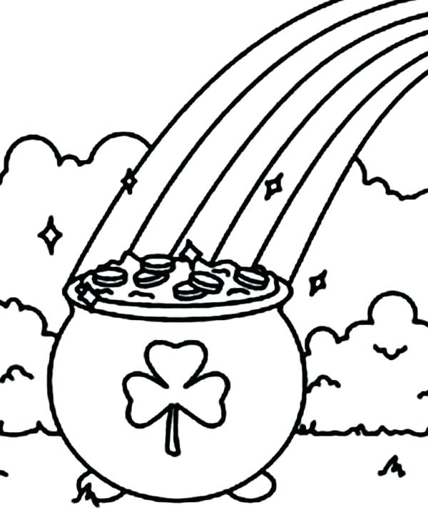 600x714 Shamrock Coloring Page A Pot Of Gold With A Shamrock Symbol