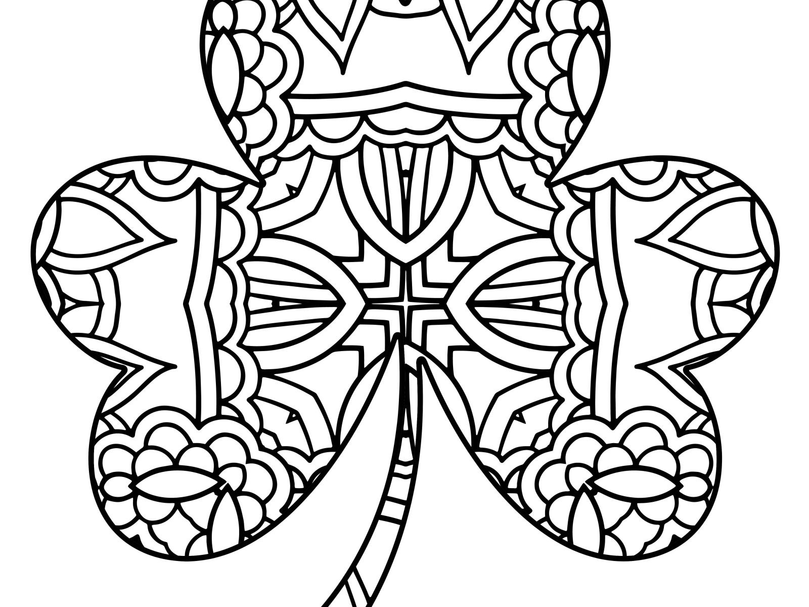 This is an image of Shamrock Coloring Pages Printable throughout kawaii