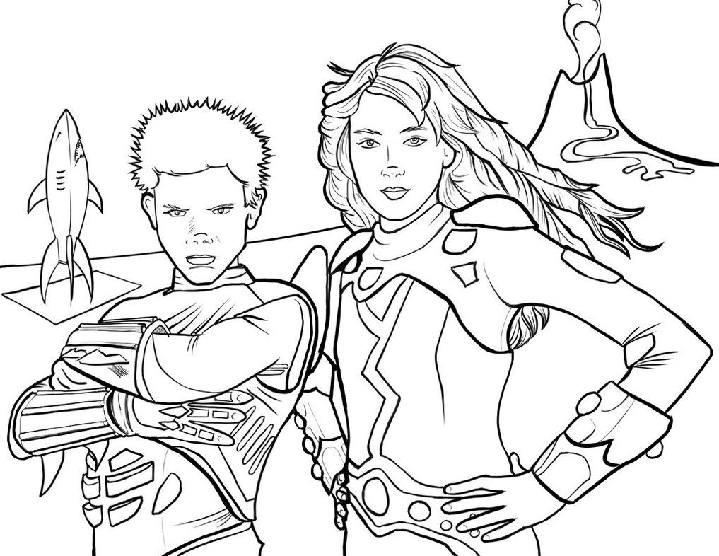 1017x786 Sharkboy And Lavagirl Coloring Page