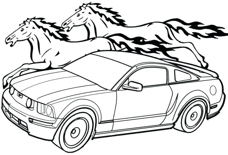 760x517 Mustang Coloring Pages Mustang Line Art