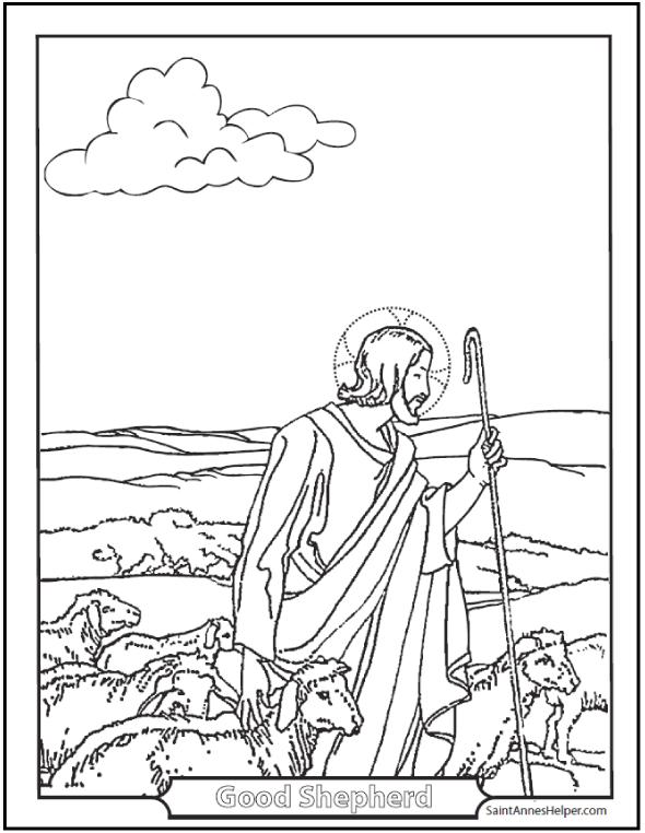590x762 Jesus Good Shepherd Coloring Page