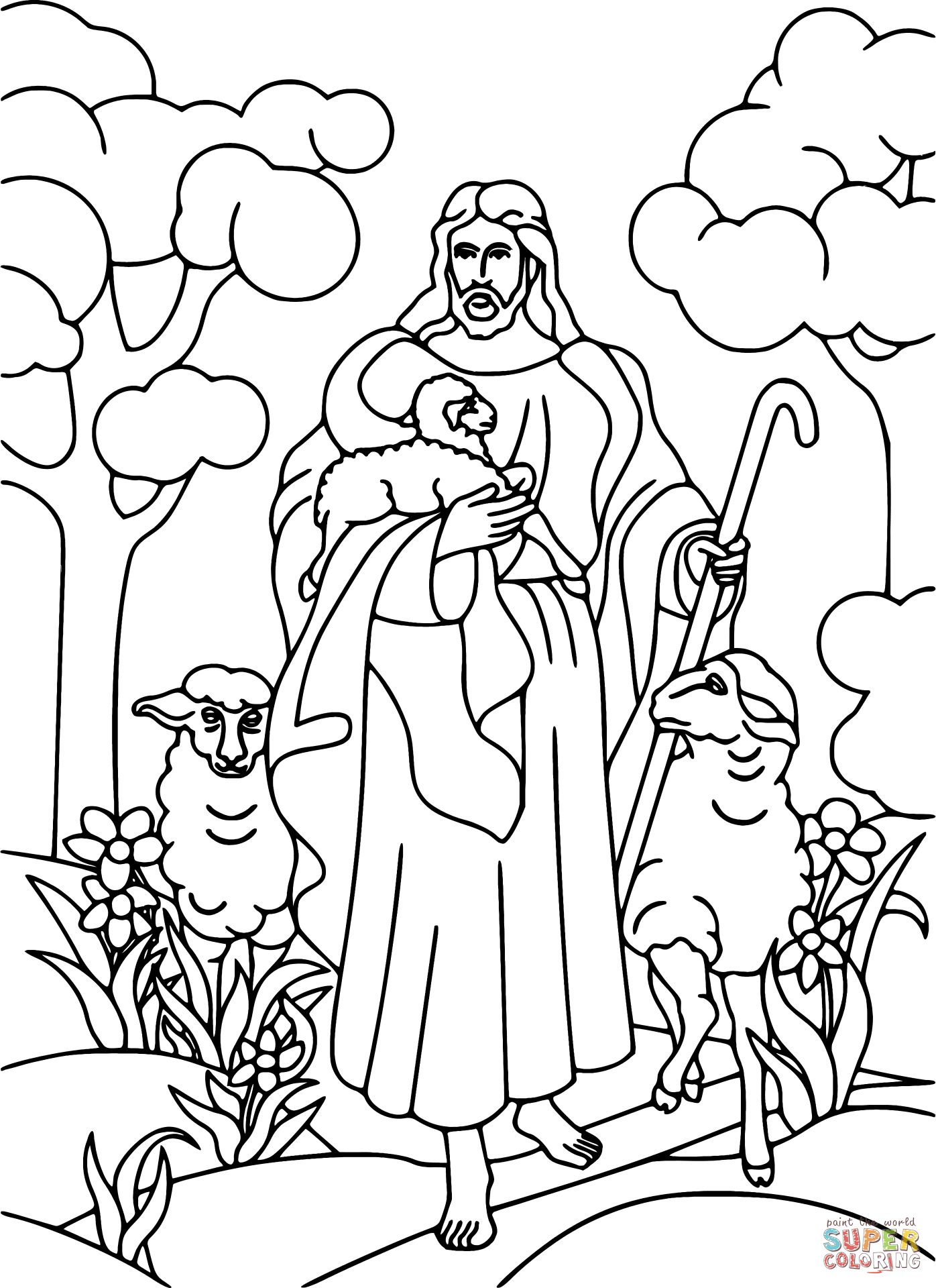 1396x1920 Jesus Holding Lamb Coloring Page For The Good Shepherd Coloring