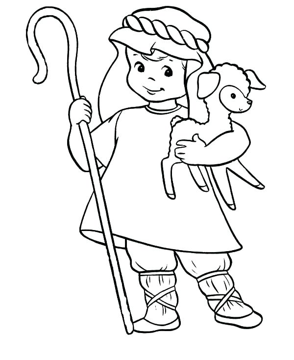 600x734 Jesus The Good Shepherd Coloring Pages Also Shepherd Boy Coloring