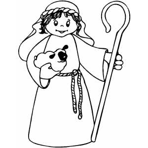300x300 Shepherd Boy With Staff Coloring Page