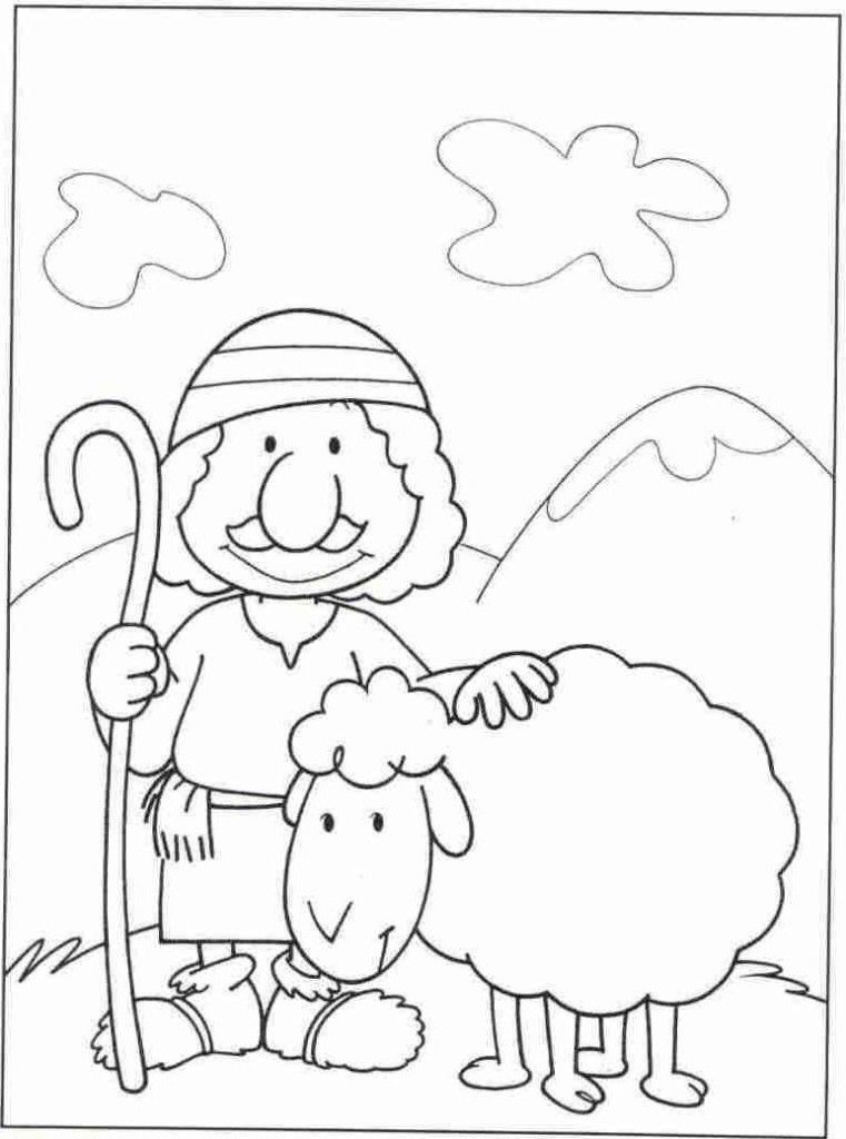 Shepherds Visit Baby Jesus Coloring Pages