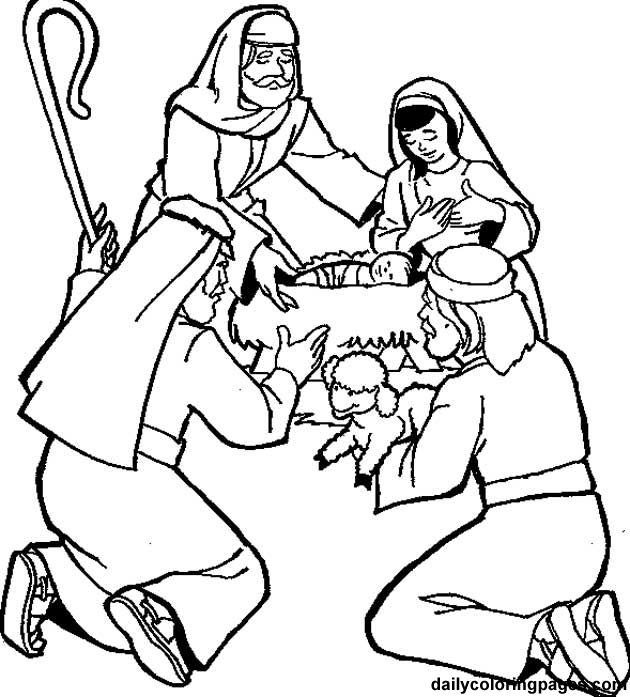 630x697 Shepherds Visit The Baby Coloring Page Journey To Bethlehem