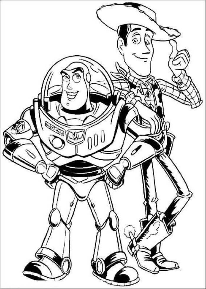 697x977 Print Buzz Lightyear And Woody Sheriff Toy Story Coloring Pages