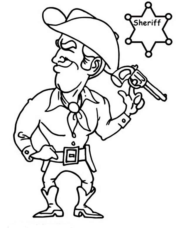 600x777 Sheriff Cowboy Coloring Page Coloring Sun