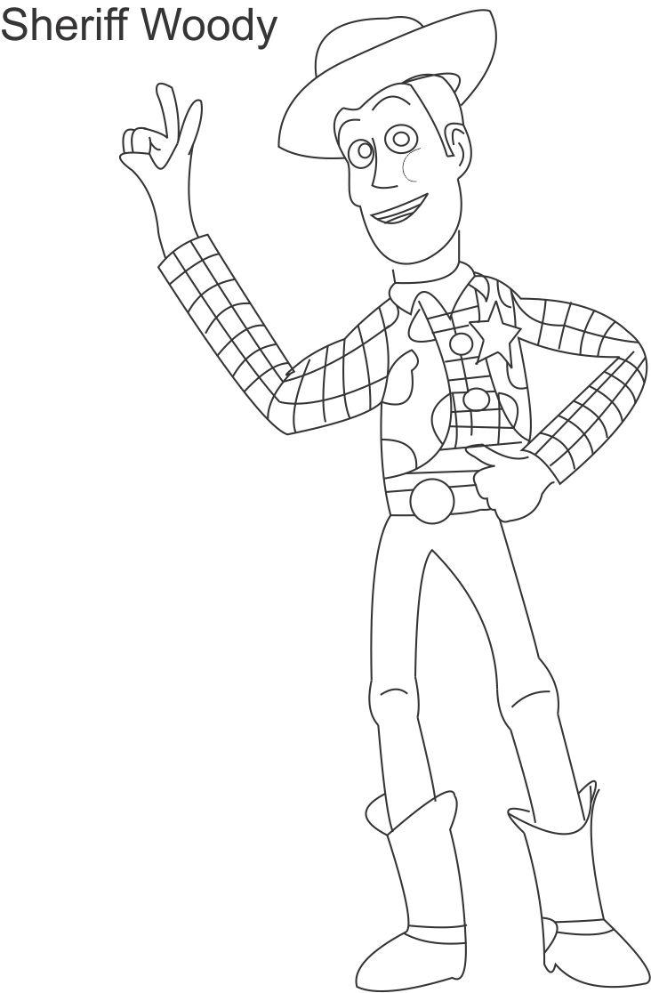 732x1116 Toy Woody Sheriff Coloring Page For Kids