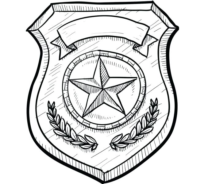 678x600 Police Badge Coloring Page Drawing Of Police Badge Coloring Pages