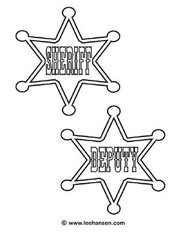 350x454 Cowboys Deputy Sheriff Badge Coloring Page Country Western
