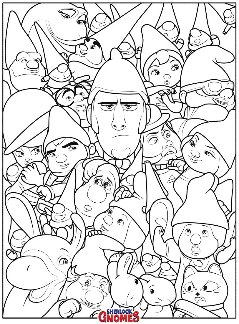 812x1100 Free Printable Sherlock Gnomes Coloring Pages