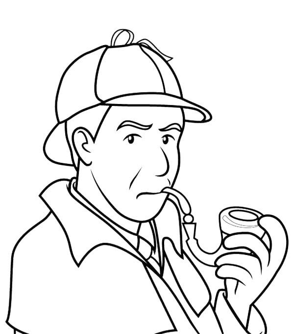 600x681 Detective Sherlock Holmes Smoking Pipe Coloring Page