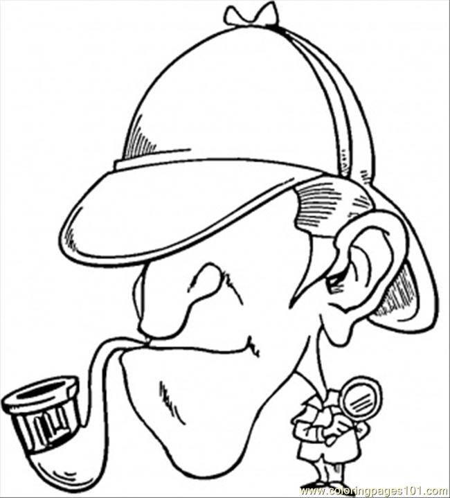 650x719 Sherlock Holmes With Pipe Coloring Page