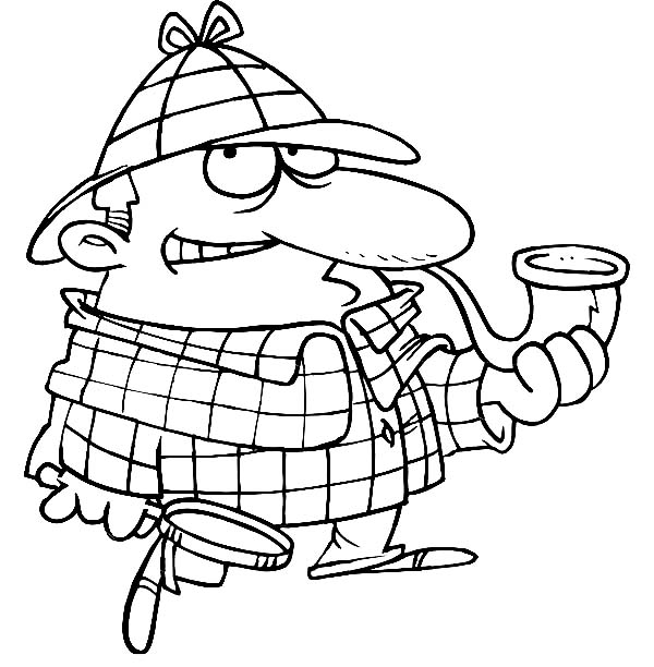 600x612 Cartoon Of Detective Sherlock Holmes Coloring Page