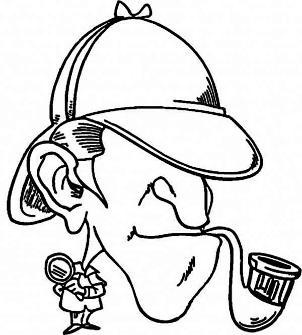 600x665 Detective Sherlock Holmes Coloring Page