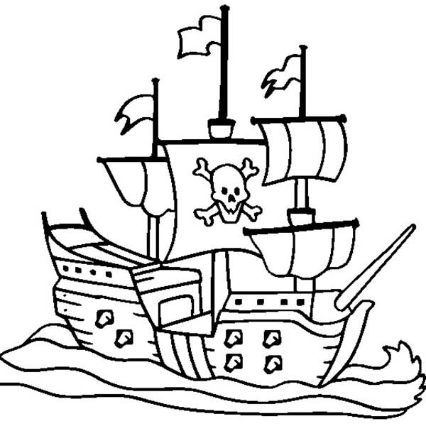 600x600 Pirate Ship Coloring Pages Free Coloring