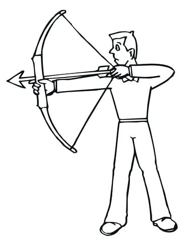 360x480 Cupid Bow And Arrow Coloring Page Archer Ready To Shoot Free