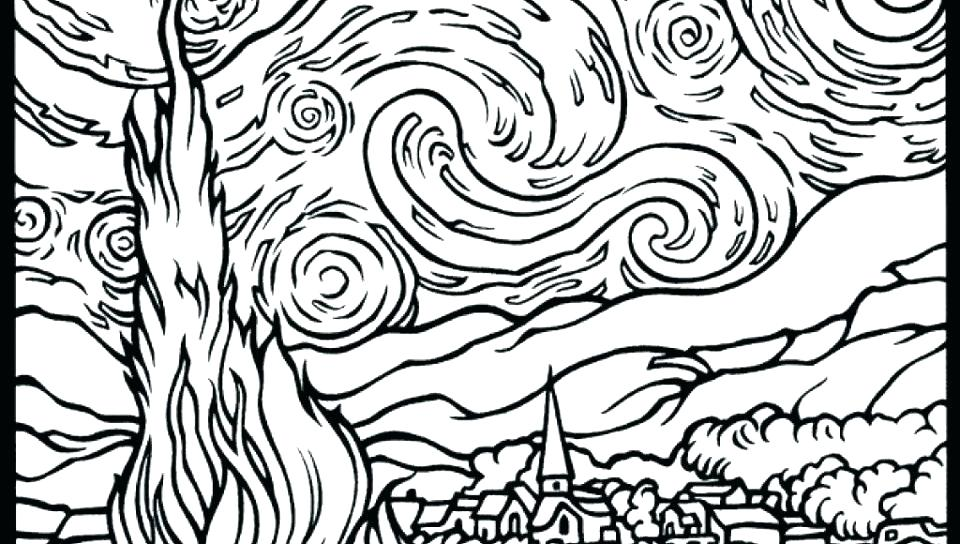 960x544 Starry Night Coloring Sheet Starry Night Coloring Pages Shooting