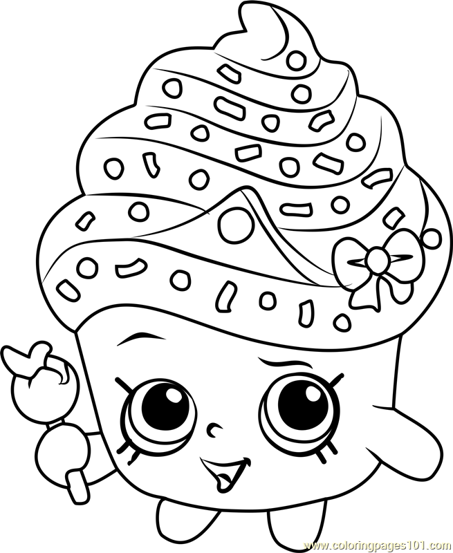 655x800 Cupcake Queen Shopkins Coloring Page