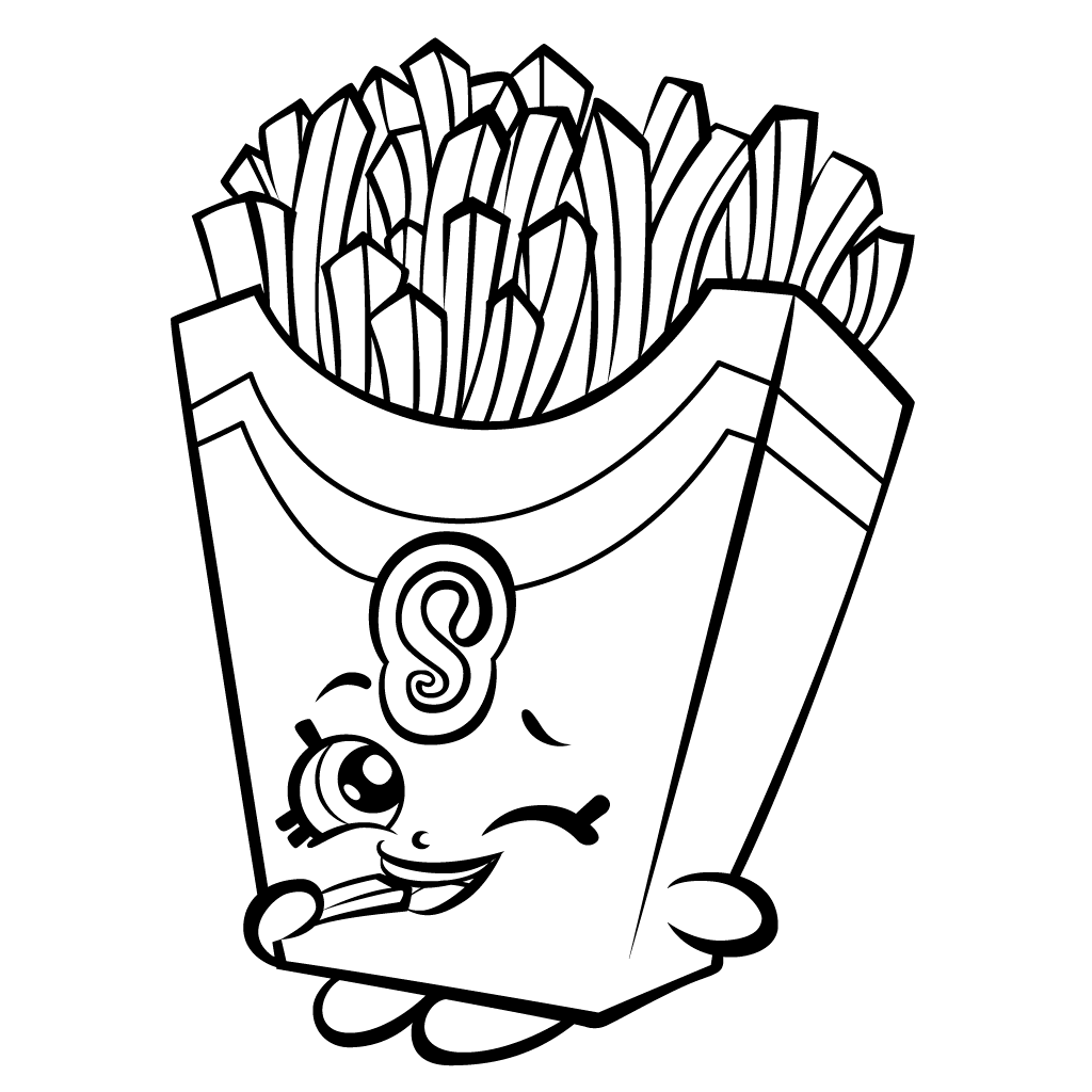 1024x1024 French Fry Shopkin Free Coloring Page Kids, Shopkins Coloring Pages