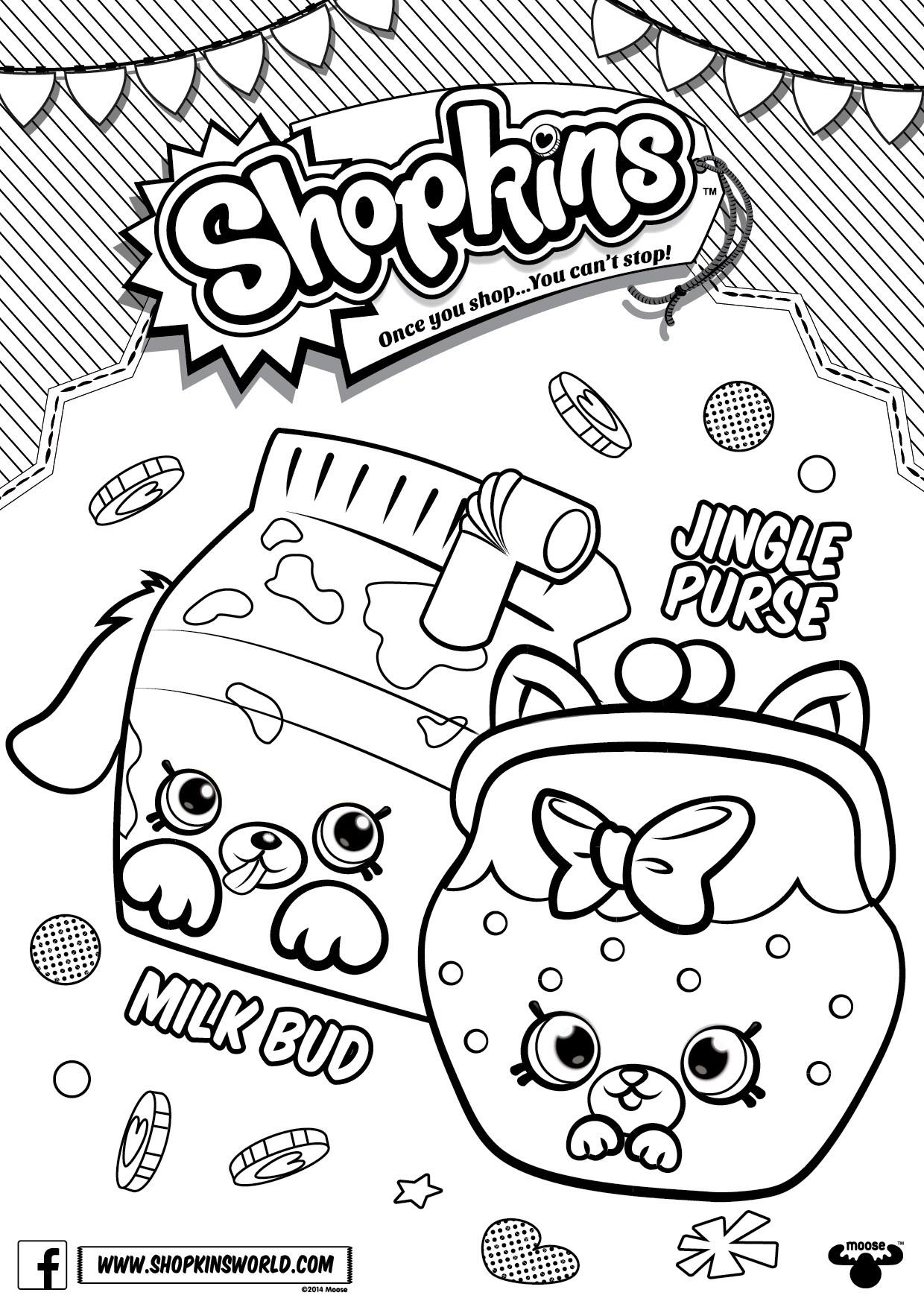 1240x1754 Shopkins Coloring Pages Season Petkins Jingle Purse Milk Bud