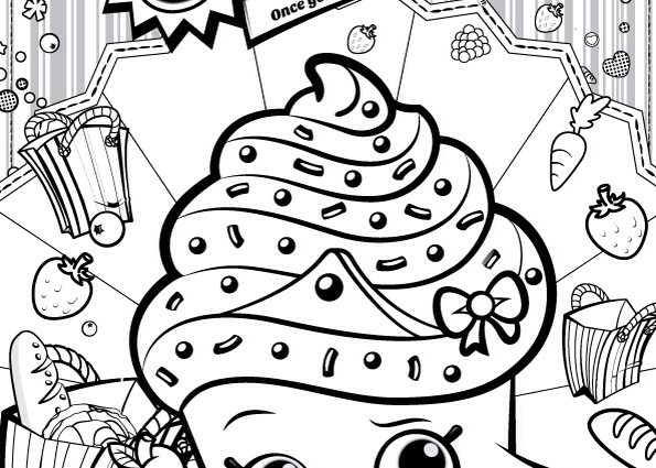 595x425 Free Shopkins Coloring Pages Shopkins Colour Color Page Cupcake