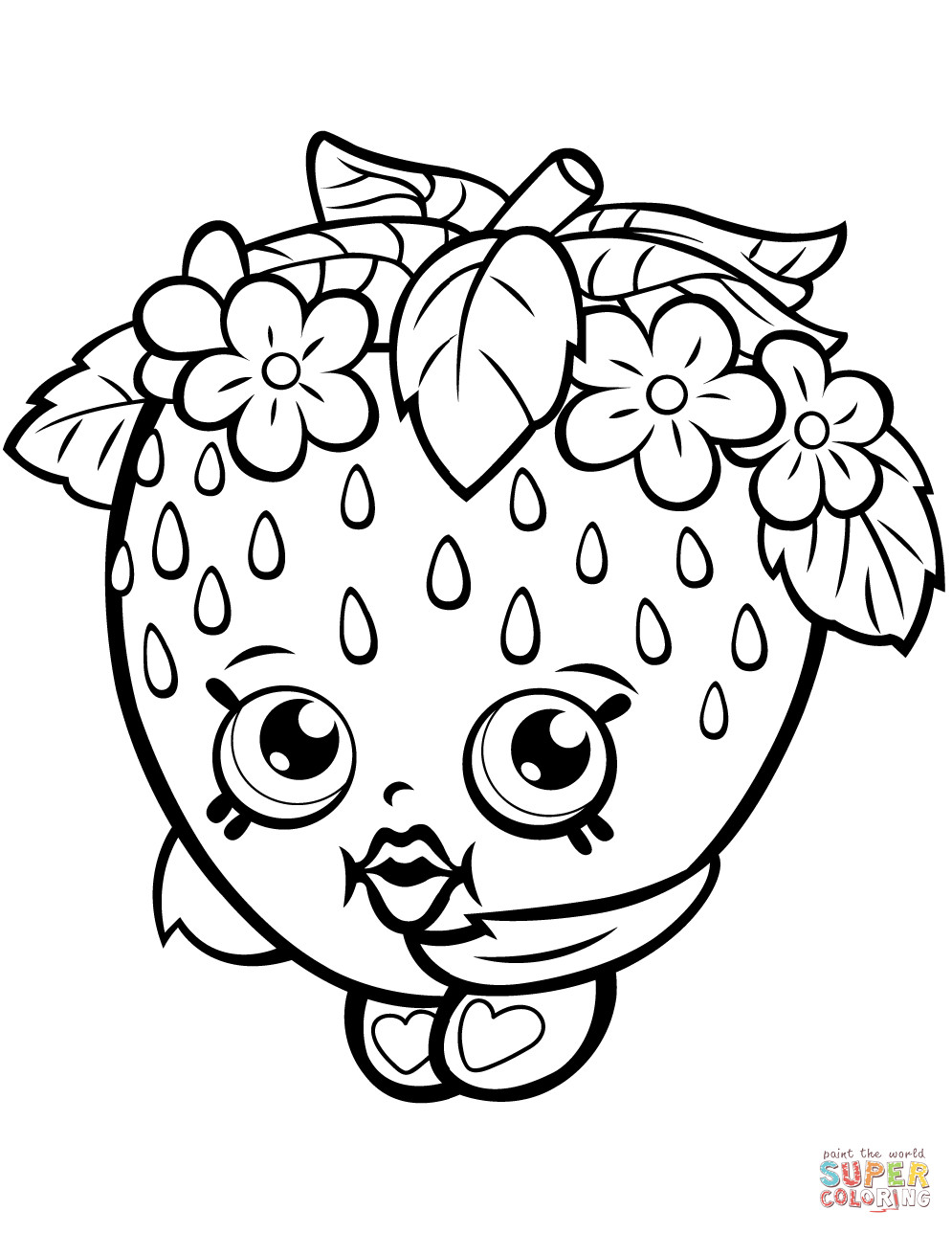 995x1288 Strawberry Kiss Shopkin Coloring Page Free Printable Pages