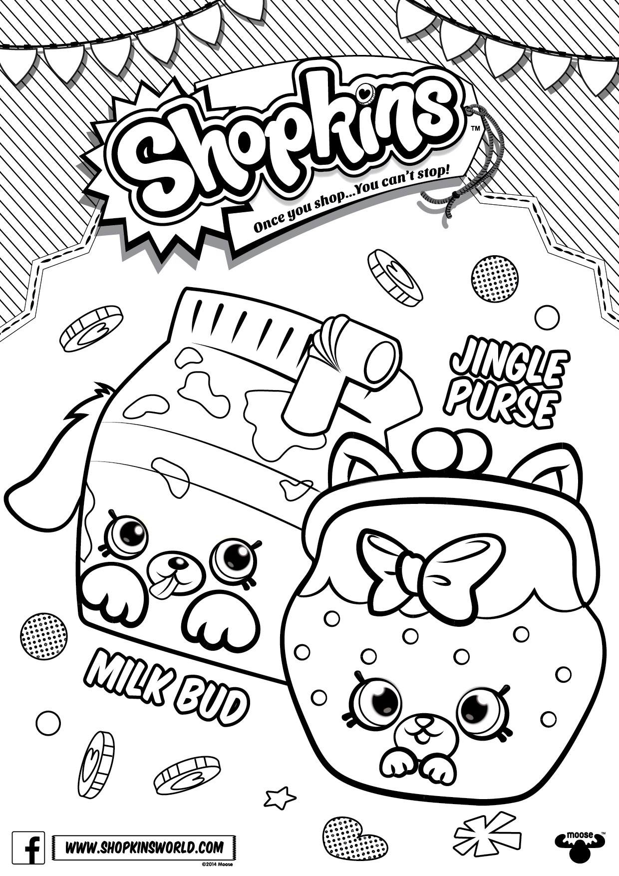 1240x1754 Shopkins Coloring Pages Season Petkins Jingle Purse Milk Bud