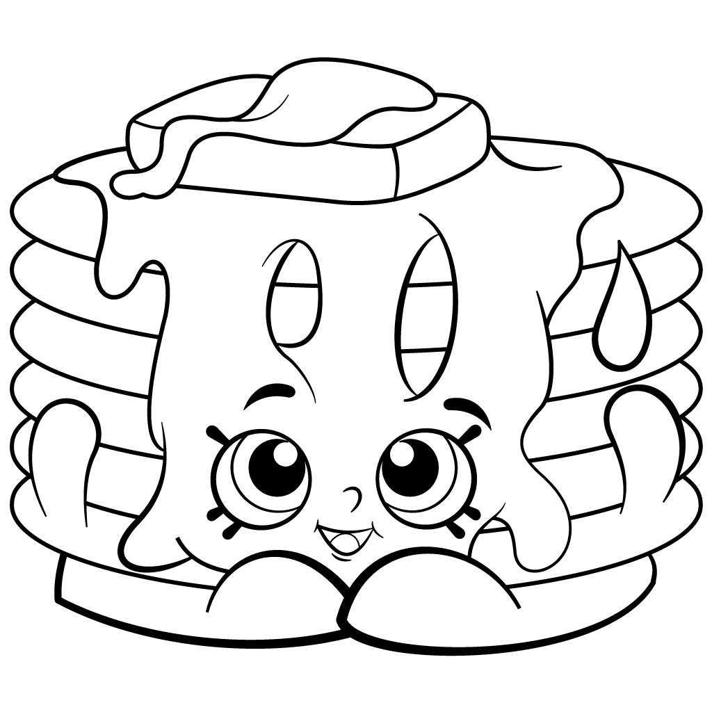 1024x1024 Pancake Stack Free Coloring Page Kids, Shopkins Coloring Pages
