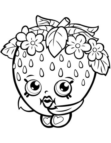 371x480 Strawberry Kiss Shopkins Coloring Page Strawberry Kiss Shopkin