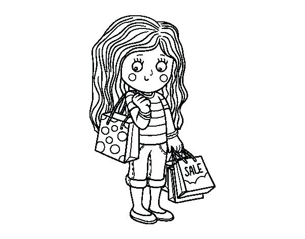 600x470 Shopping Coloring Pages Summer Girl With Shopping Coloring Page
