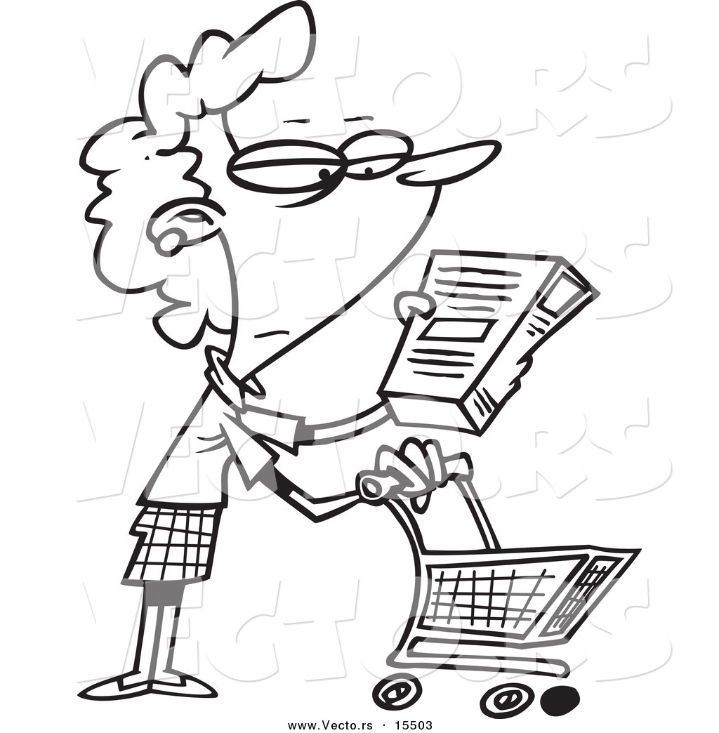1024x1044 Vector Of A Cartoon Shopping Woman Reading An Ingredient Label